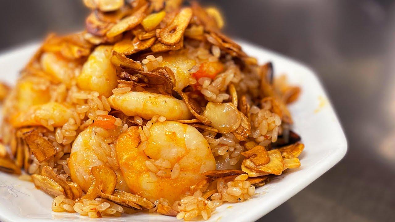 【ガリハラ】にんにく海老炒飯 Super garlic and shrimp with fried rice