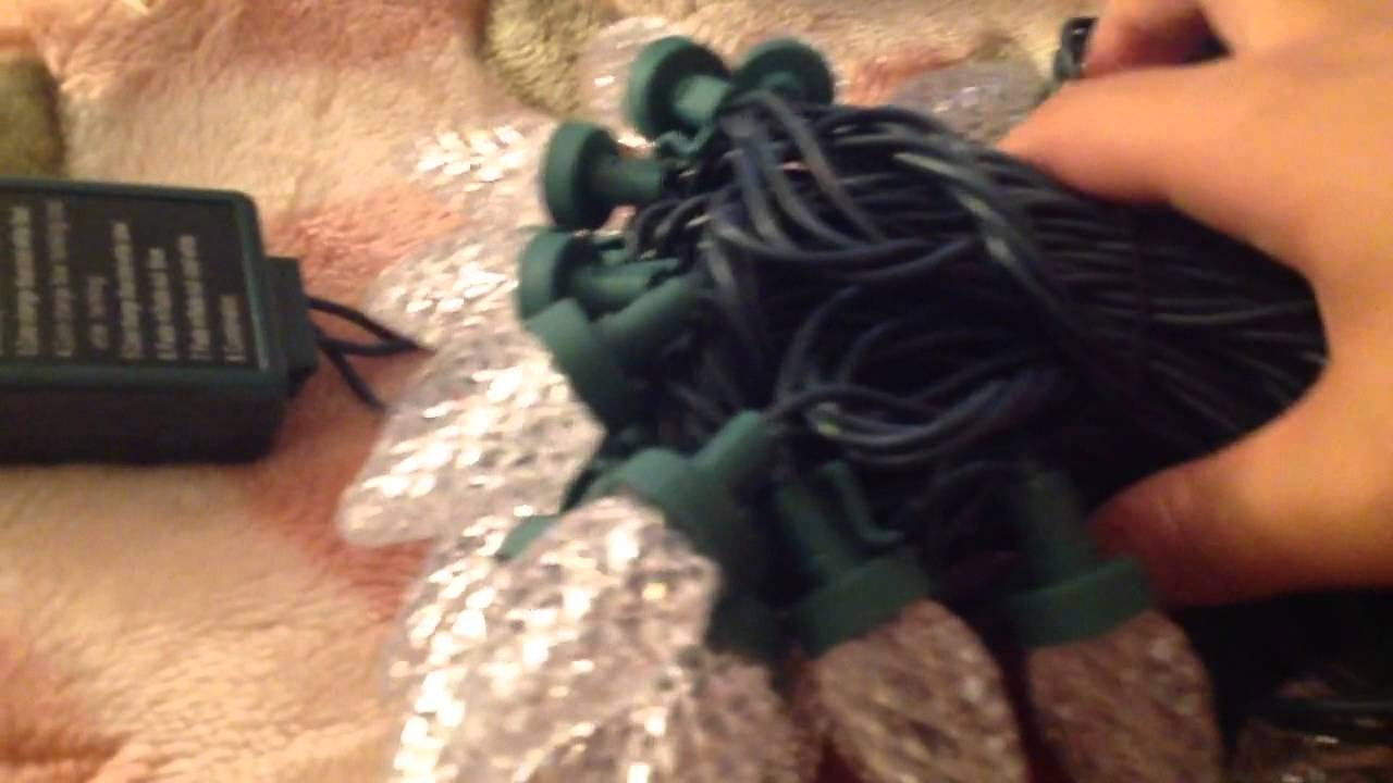 unboxing of the holiday time 50 count led c7 christmas lights cool white to blue youtube