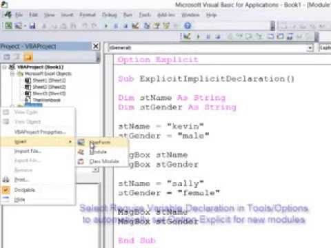 9  Introduction to Programming with VBA - Explicit versus Implicit Variable  Declaration