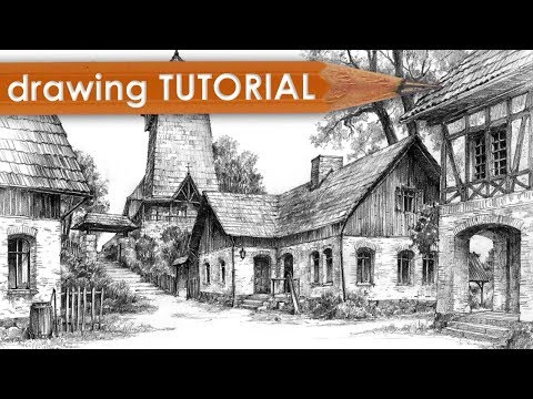 DRAWING TUTORIAL - how to draw architecture in perspective ( Village )