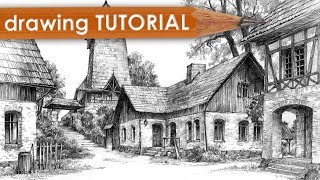 "DRAWING TUTORIAL - how to draw architecture in perspective (""Village"")"