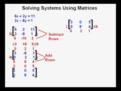 Solving Systems Using Matrices - YouTube