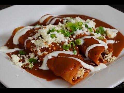 Mexican Enfrijolada with Guajillo Sauce, Mexican Food, easy and delicious