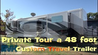 Private Tour Exterior and Systems of 48 Foot Travel Trailer By Spacecraft