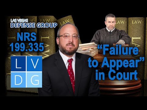 "Can I go to jail for missing court in Nevada? ""Failure to appear"" laws"