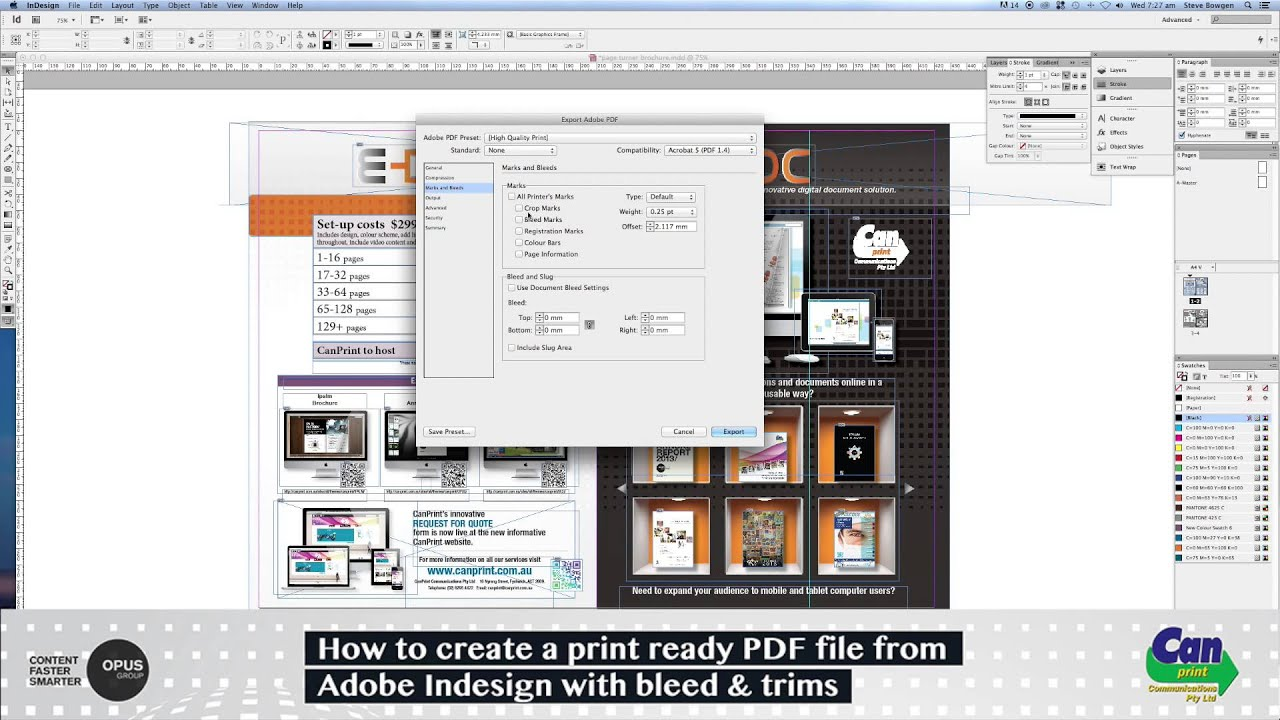 how to create a print ready pdf file from indesign
