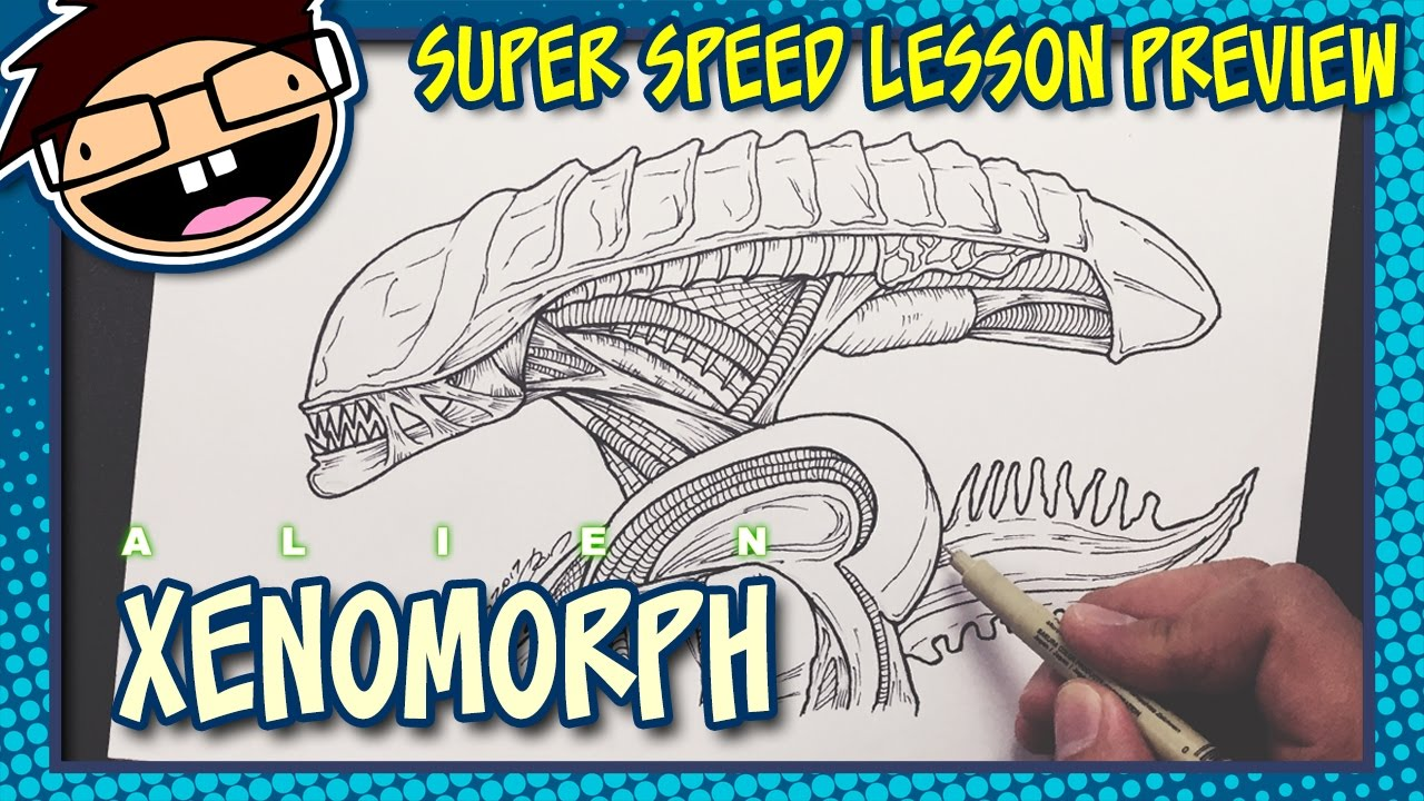 Lesson Preview How To Draw An Alien Xenomorph Alien