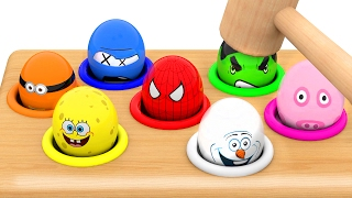 Whack a Mole Character Surprise Eggs, Learn Colors with Whac a Mole for Kids Children