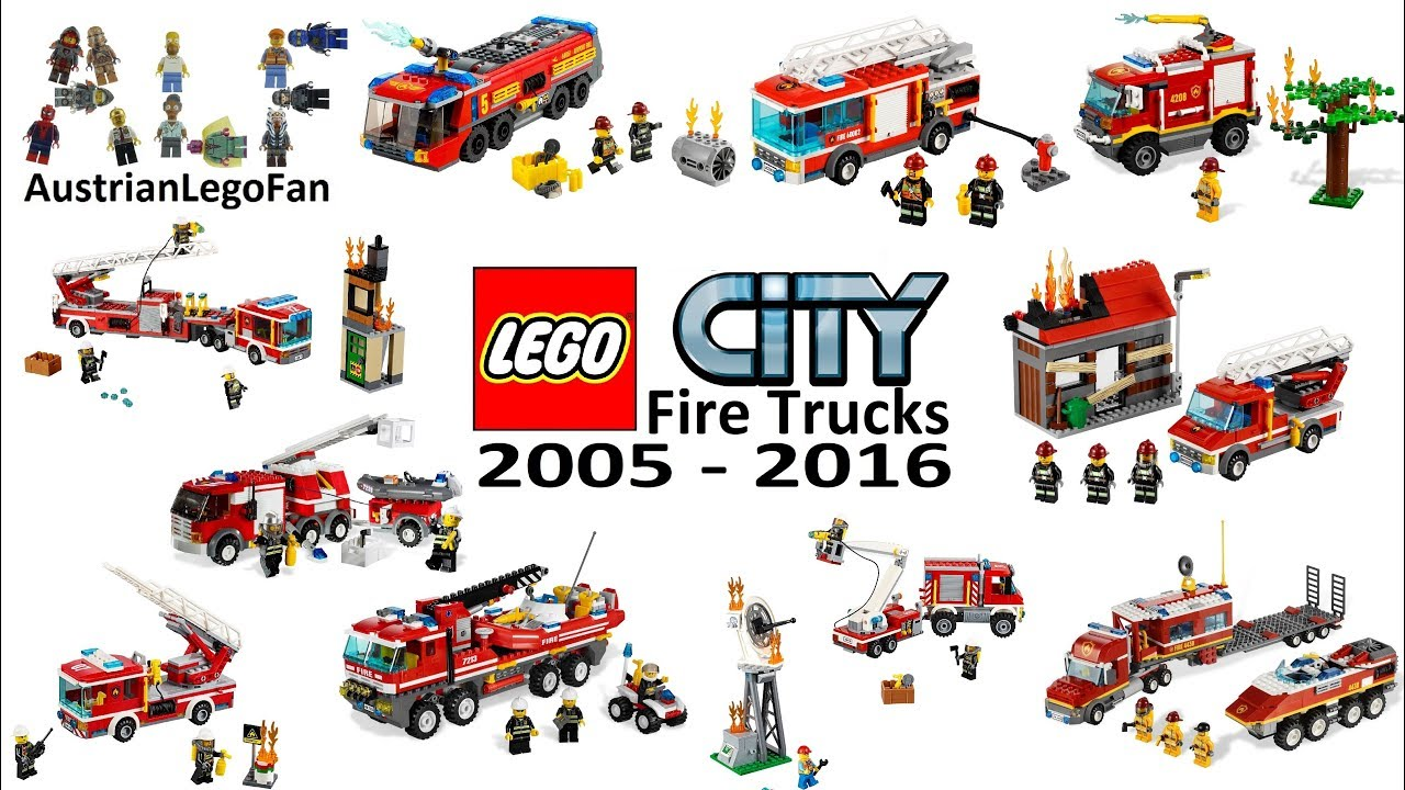 Lego City Fire Trucks Compilation Of All Sets 2005 2016 Lego Speed Build Review Youtube
