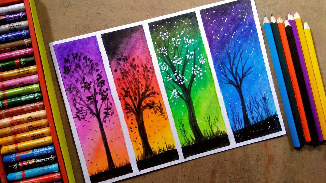 Drawing Diffe Colourful Four Trees Step By Oil Pastel Colour Painting