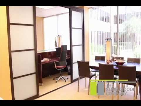 The sliding door company room divider installation youtube for Sliding door company