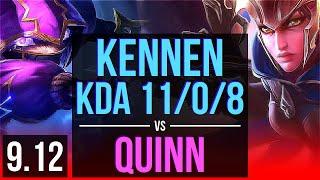 KENNEN vs QUINN (TOP) | KDA 11/0/8, 900+ games, Legendary | NA Master | v9.12