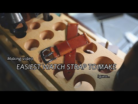 Easiest watch strap to make, leathercraft making watch strap