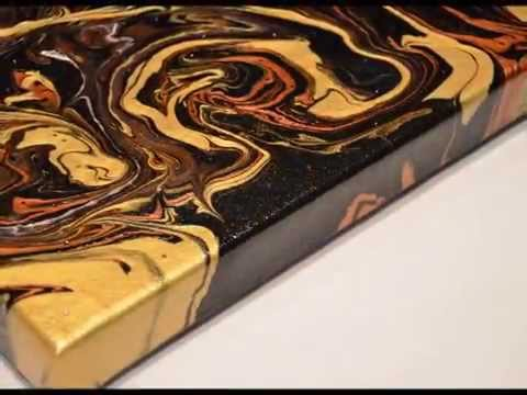 How to make acrylic painting. Calidraw fluid abstract painting with Crystals Swarovski By D.A.Jakelj