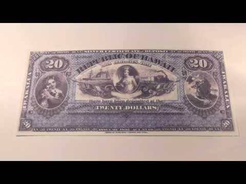 1895 $20 Republic of Hawaii Silver Certificate Note