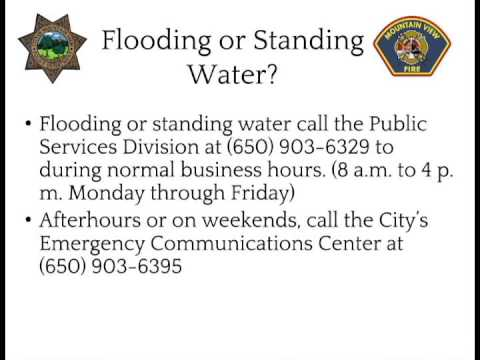 Mountain View Police and Fire Storm Information  - Flooding or Standing Water