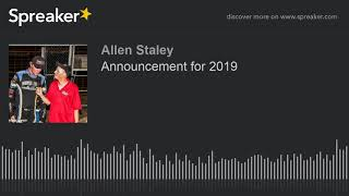 Announcement for 2019 (made with Spreaker)