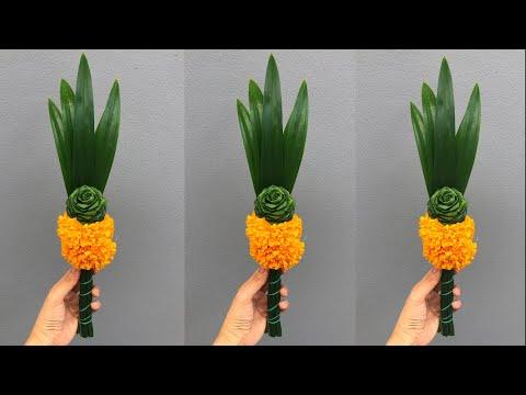 ดอกไม้ไหว้พระ จากกุหลาบใบเตยดอกใหญ่   DIY Pandan leaves   MeeDee DIY