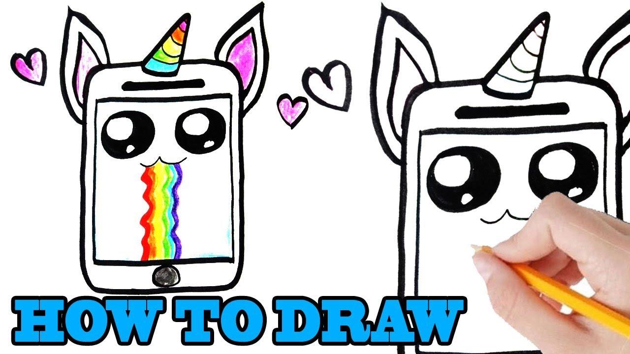 hoe teken je een eenhoorn schattige telefoon leren