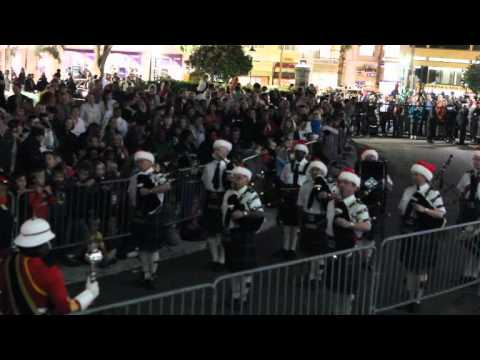 Regiment & Islands Pipe Bands At Tree of Lights - Lighting Ceremony Bermuda November 25 2011