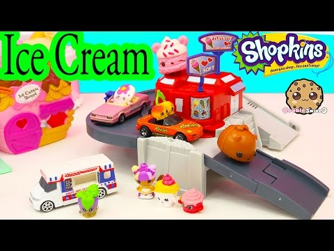 Season 4 Shopkins Drive Cars To Get Ice Cream At Dyna City Playset - Cookieswirlc Video