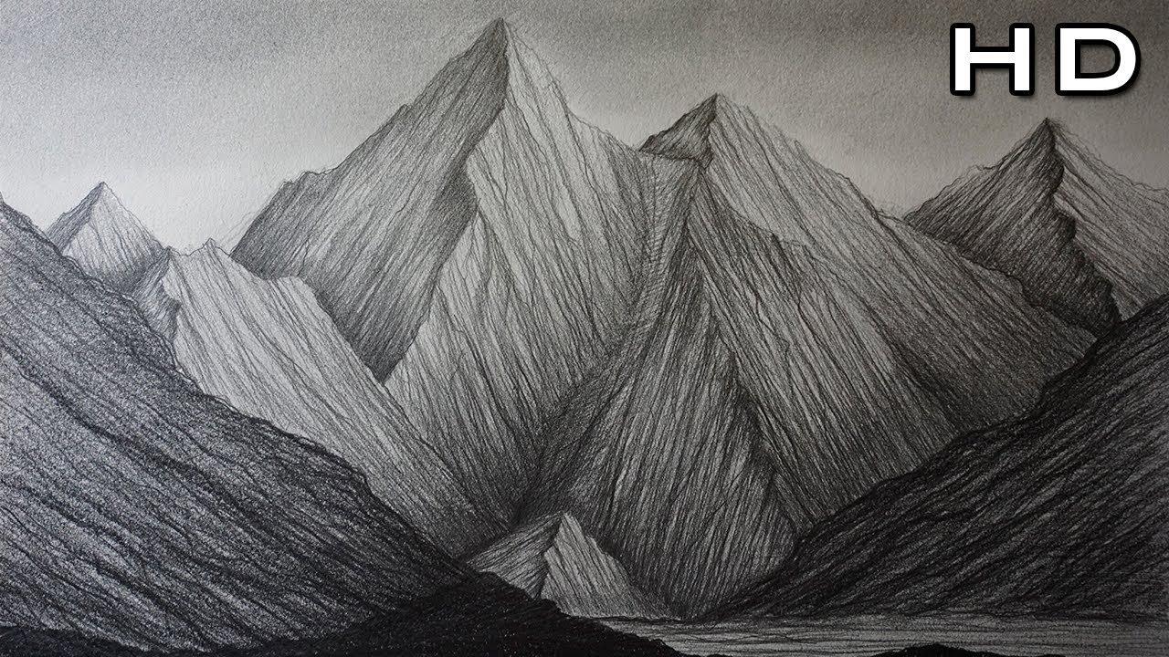 Dibujos A Lapiz De Color Faciles: Cómo Dibujar Montañas A Lápiz Paso A Paso