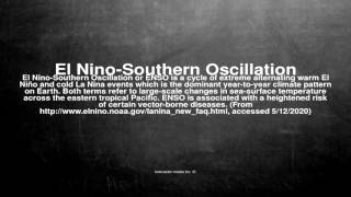 Medical vocabulary: What does El Nino-Southern Oscillation mean