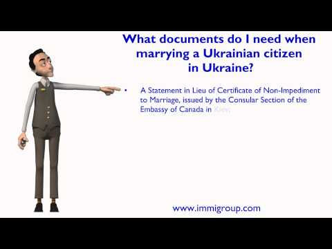 What documents do I need when marrying a Ukrainian citizen in Ukraine?