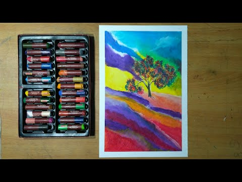 Abstract Landscape / Oil Pastel / Art Tutorial for Beginners / Daily  Art Challenge #17
