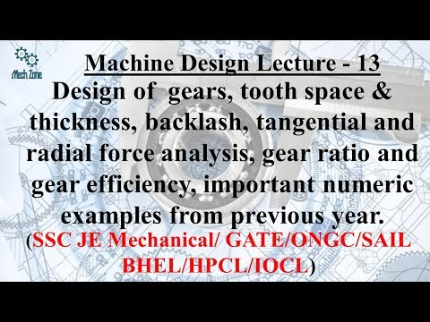 Machine Design Lecture 13: Gear design, backlash, tangential & radial force analysis