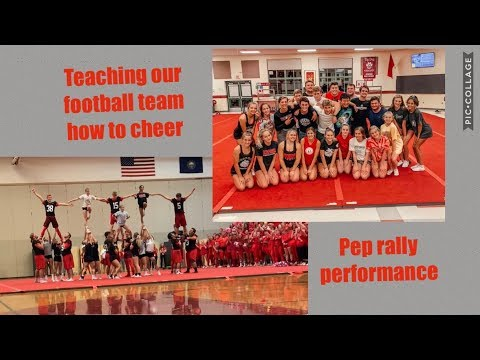 teaching our varsity football team how to cheer & pep rally performance