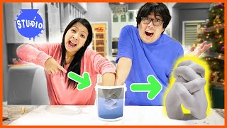 Ryan's Mommy & Daddy DIY Hand Mold! Holding Hands Experiment!