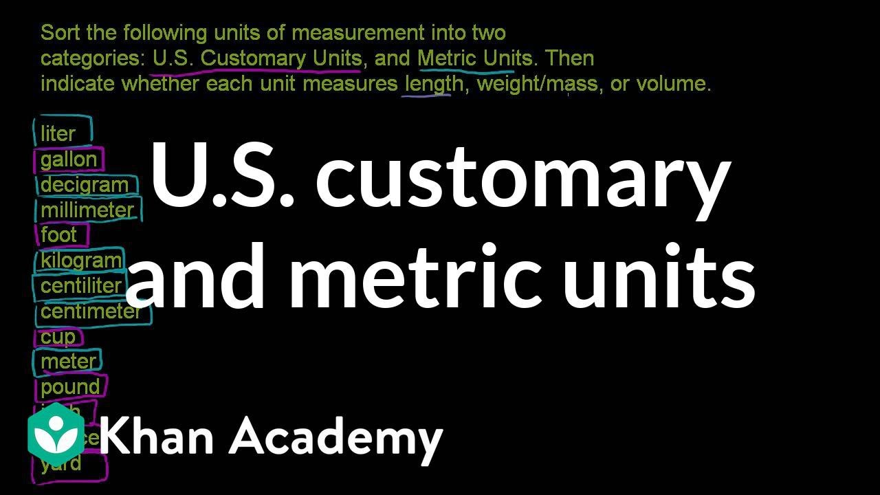 medium resolution of U.S. customary and metric units (video)   Khan Academy