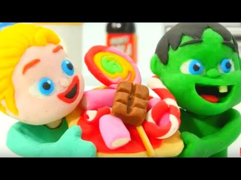 SUPERHERO BABIES MAKE FUNNY PIZZA ❤ Frozen Elsa Play Doh Cartoons For Kids ❤ Play Doh Stop Motion