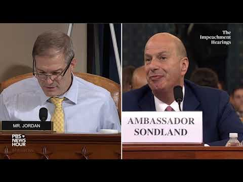 WATCH: Rep. Jordan says 'no direct evidence' in Sondland's testimony | Trump impeachment hearing