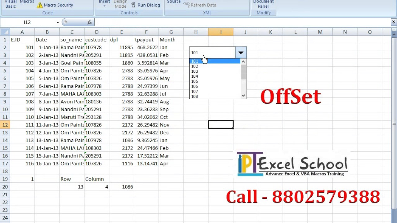Excel Offset Formulas in Hindi