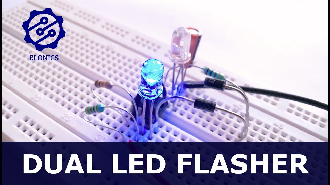 Dual Flashing Led Circuit Using 555 Timer On Breadboard Basic Flash Schematic Diagram Get Free Image About Wiring Electronics Projects