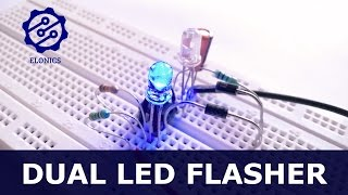 Dual Flashing LED Circuit using 555 timer on breadboard - Basic electronics Projects