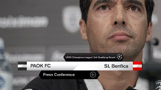 Press Conference: PAOK FC - SL Benfica - PAOK TV