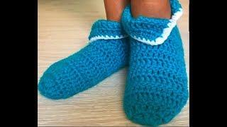 Простые легкие домашние тапочки Следки носки сапожки крючком для начинающих crochet socks