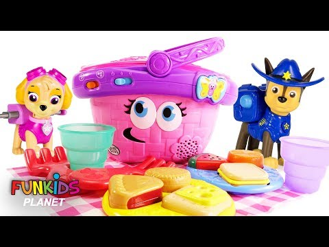 Learning Colors For Kids: Paw Patrol Pups Play with Surprise Toy Picnic Playset