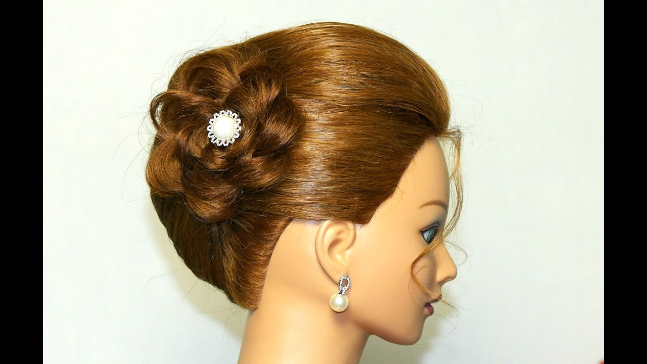 Hairstyle for medium long hair Updo with braided flower