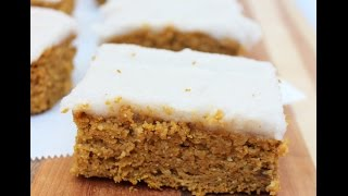 Gluten-free Pumpkin Protein  Bars With Dairy-free Coconut Frosting