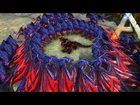 Ark Survival Evolved - 50 Dragons VS Dragon God ! Ark Survival Evolved Boss Gameplay