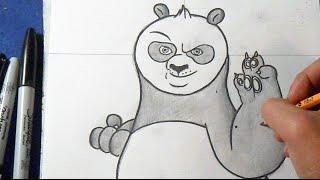 "Cómo dibujar a Po el Panda ""Kung Fu Panda"" | How to draw Po the panda"