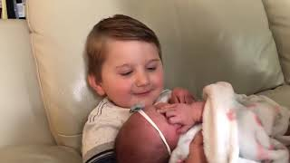 Four Year Old Boy Meets Newborn Sister for the First Time - 1046138