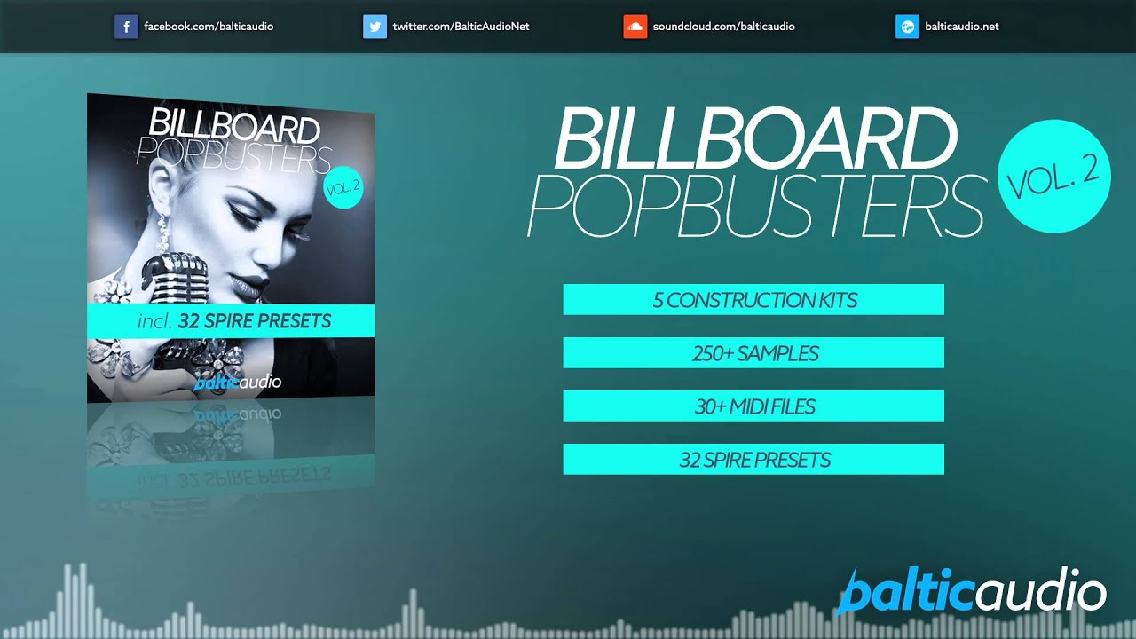Billboard Pop Busters Vol 2 (250+ Samples, 32 Spire presets, 30+ MIDI files, 5 Construction Kits)