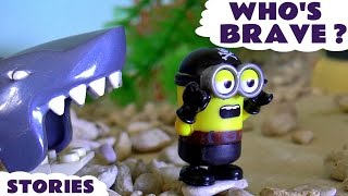 thomas and friends accident with paw patrol minions shark attack brave rescues fun toys stories