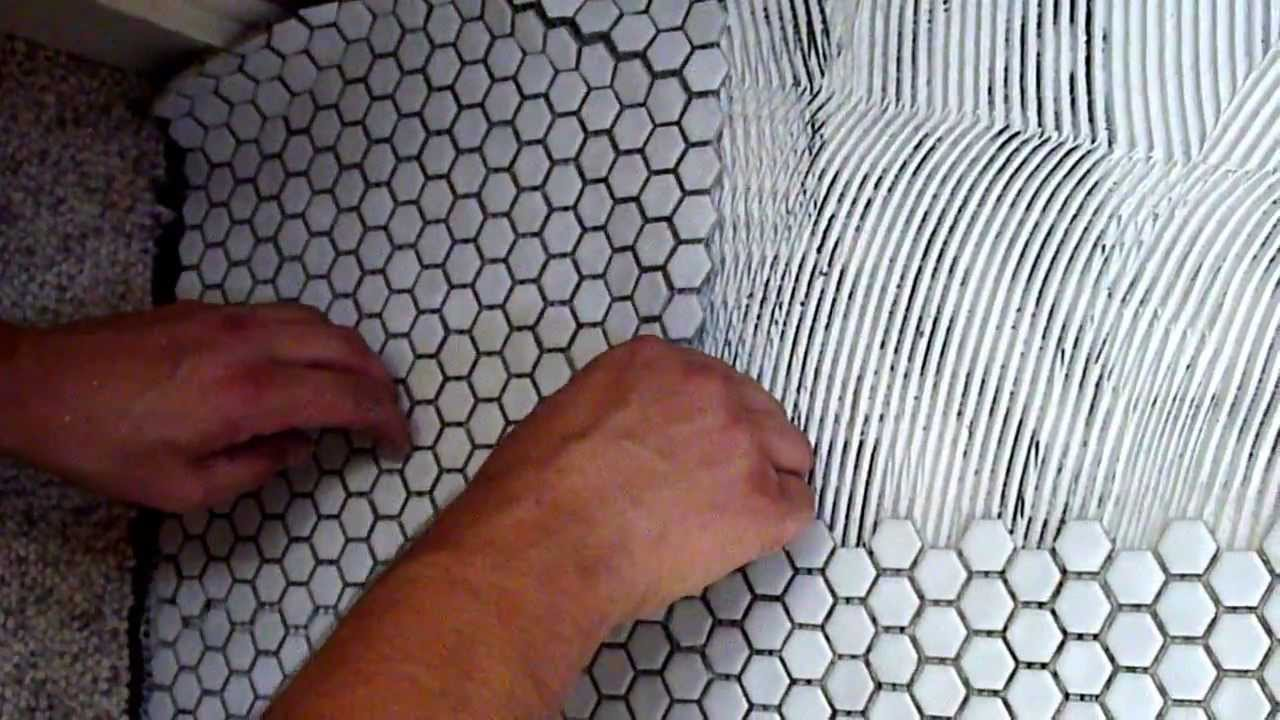 How to install white mosaic porcelain tile on concrete slab youtube dailygadgetfo Image collections