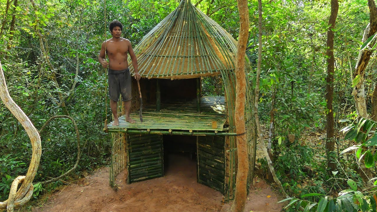 Building The Secret Relaxing Bamboo House By Ancient Skill
